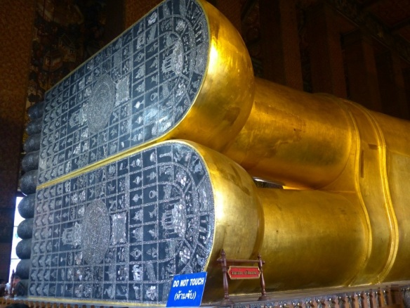 The bottom of the Buddha's feet are covered with mother of pearl.  Talk about having big shoes to fill!