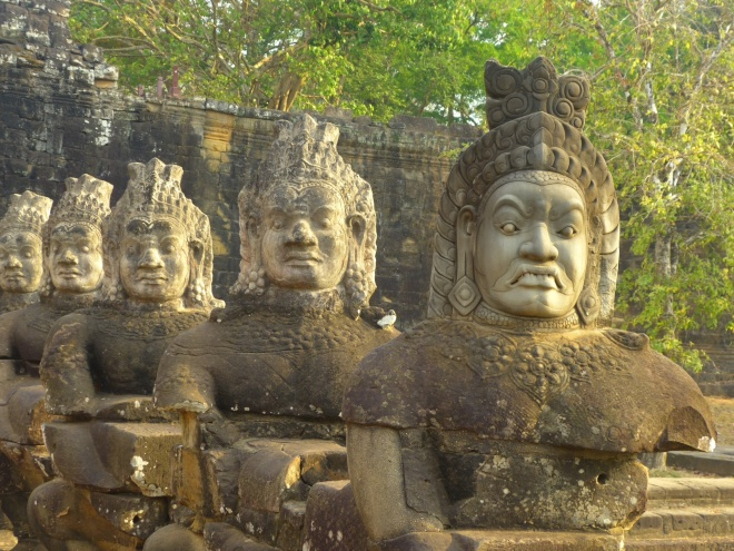 The demons guarding the bridge to Angkor Thom