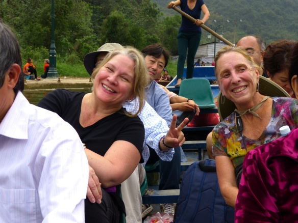 Sally and Jeannie, smiling on the boat ride back.