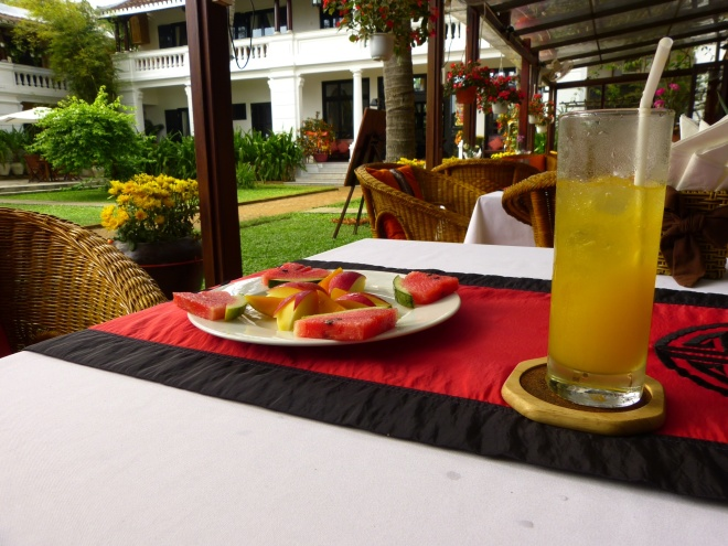 Welcome drink and fruit at the HaAn Hotel