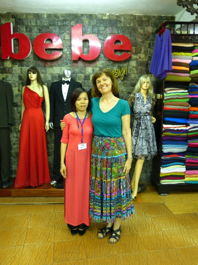 Me and super saleswoman Lou, while waiting for my new duds to be finished.