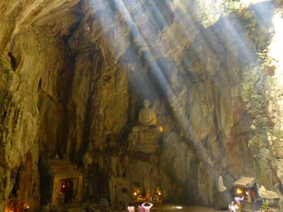 Sunlight from holes in the roof of the cave gave the interior a very spiritual feel