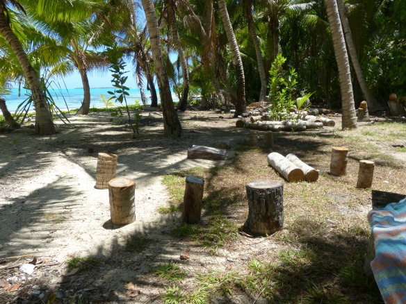 What is left of the Survivor campsite