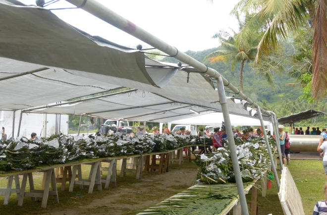Long tables filled with food