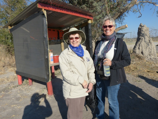 "Maureen and Jeanne at the ""airport"" on our way to the Okavango Delta."