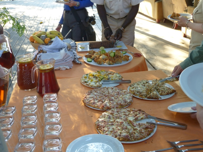 """Our 3:30 PM """"snack"""" before the afternoon game drive.  Can we make it till our """"sundowner"""" break at 6:00?  What about dinner at 7:30?"""