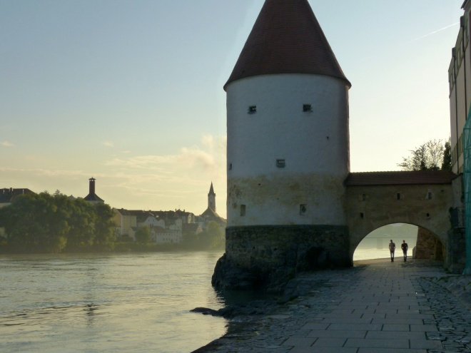 Passau's ancient tower at sunset