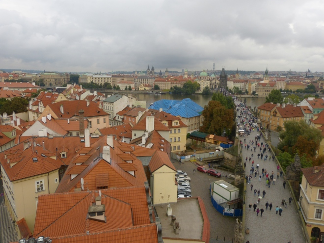 Prague, viewed from the top of the Charles Bridge Tower. (141 steps to the top, and through a little narrow door).
