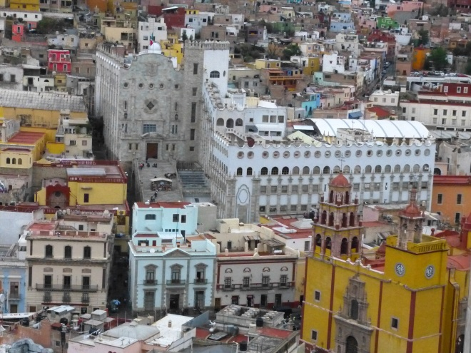 The pale blue building to the left of the yellow/orange cathedral is our hotel.  The hotel de la Paz