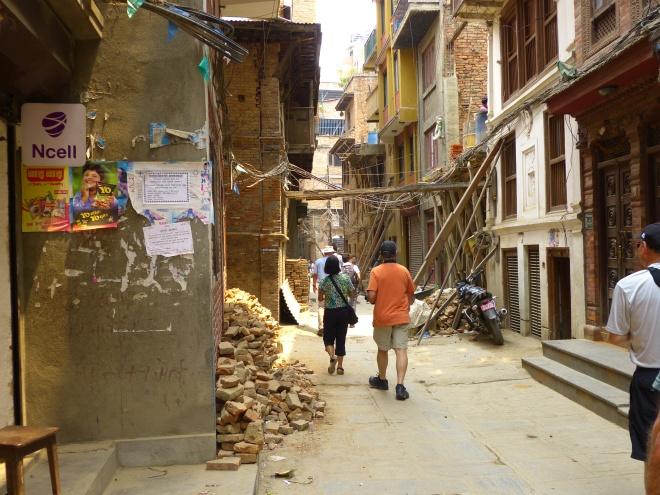 Timber supporting Kathmandu buildings