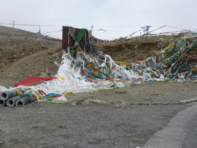 Prayer flags looked very different from the ones we saw in Bhutan.