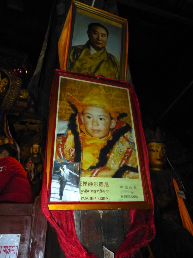 This photo was taken in Gyantse--no interior photos were allowed in Tashilhunpo.  The top photo is of the 10th Pachen Lama and the bottom is of the 11th as a child.