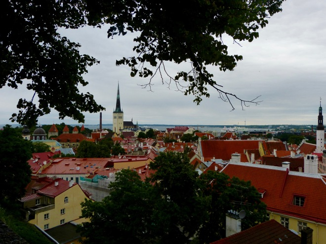 """View of the medieval """"lower town"""" from a lookout in the """"upper town""""."""